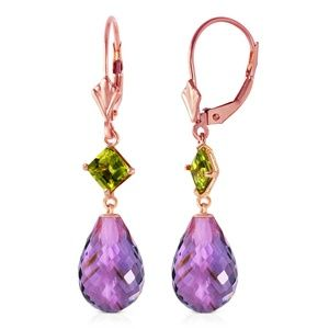 GOLD LEVER BACK EARRING WITH PERIDOTS & AMETHYSTS